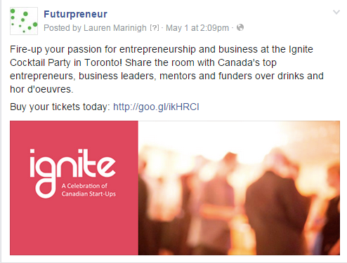 Futurpreneur Facebook Post